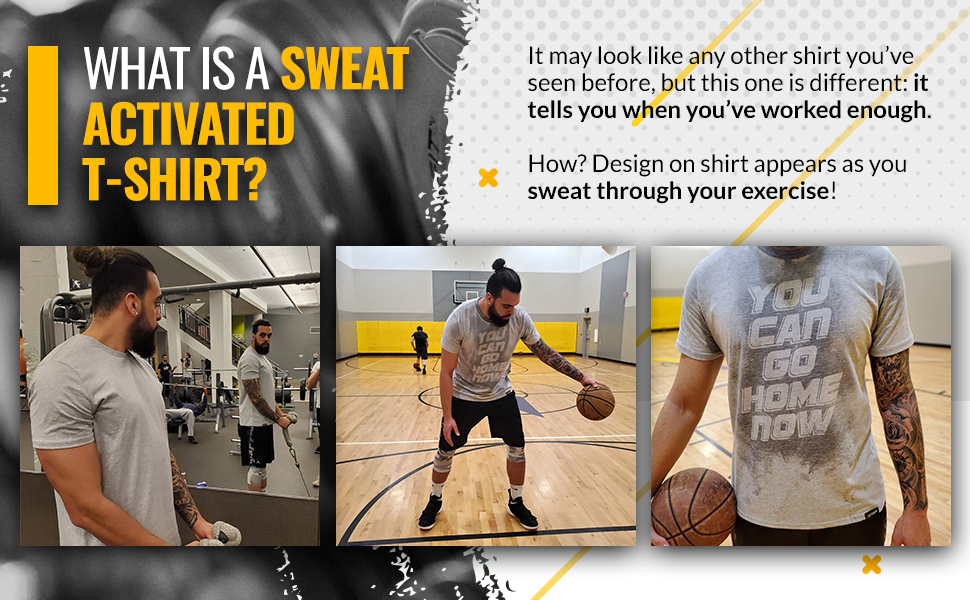 actizio sweat activated t shirts features banner, sweat activated, soft & stretchy, extra durable