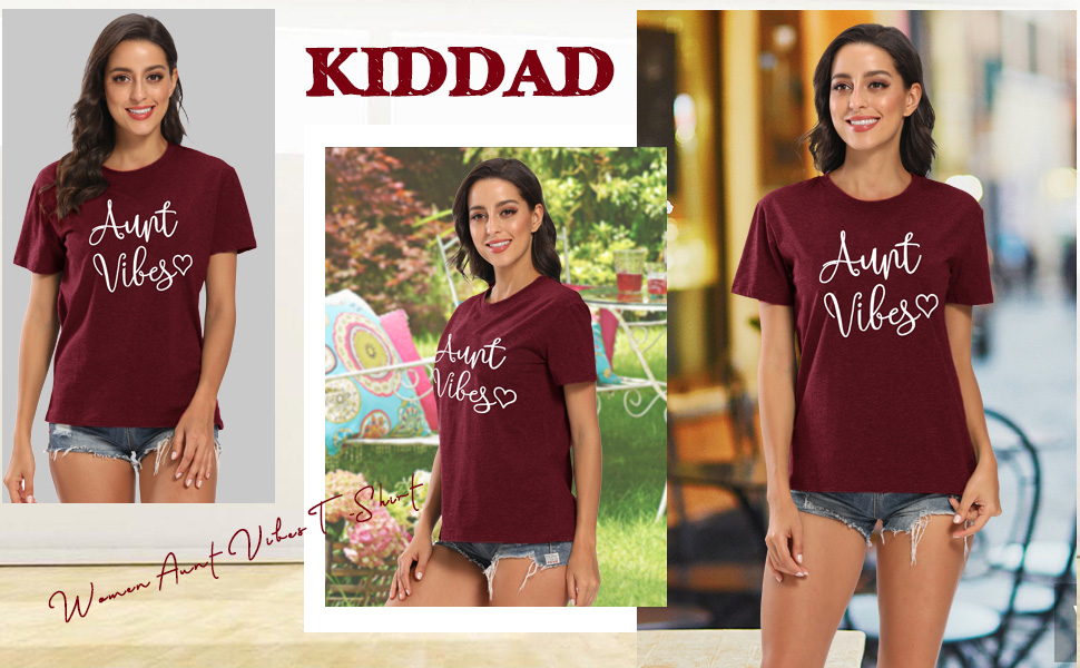 KIDDAD Womens Aunt Vibes Love Heart Print T-Shirt Casual Short Sleeve Aunt Gifts Tee Tops