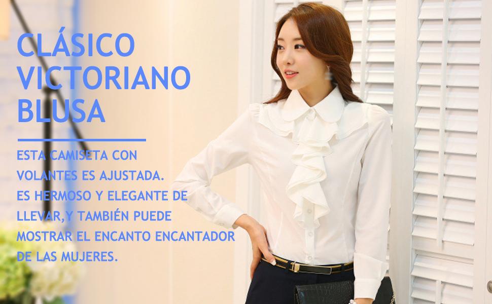 Nanxson Mujeres Camisa Vintage Ruffle Blusa Manga Larga Camiseta Formal Top CSW0034