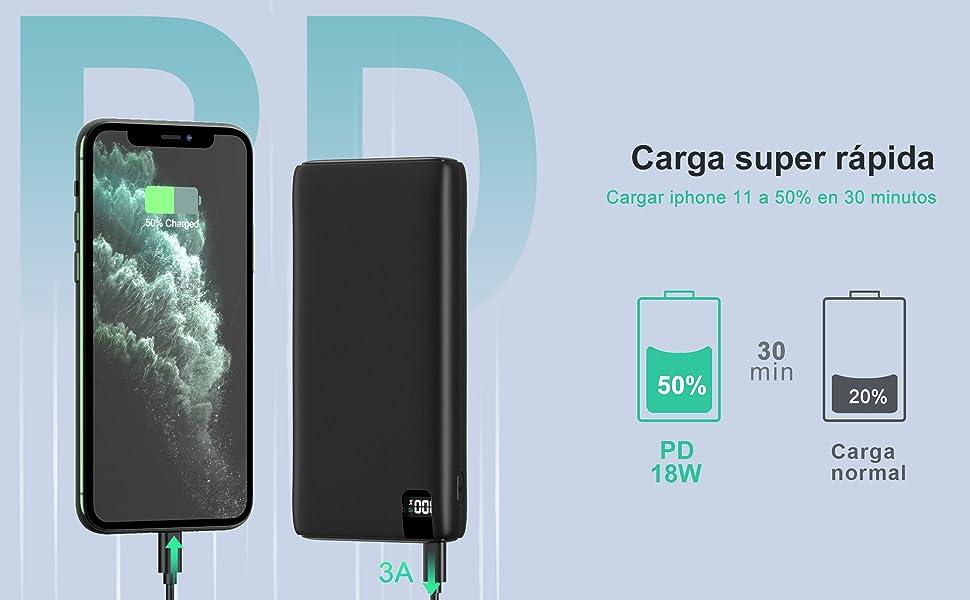 A ADDTOP Batería Externa 26800mAh, Power Bank USB C con PD 18W Carga Rápida