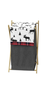 Grey, Black and Red Woodland Plaid and Moose Baby Kid Clothes Laundry Hamper for Rustic Patch
