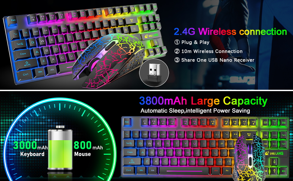 rechargeable gaming keyboard and mouse