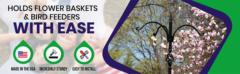 flower baskets, bird feeders, made in the usa, sturdy, easy to install