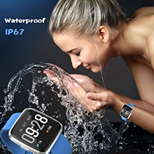 Smart Watch, Sport Waterproof Smartwatch, Fitness Tracker with Heart Rate Blood Pressure,Blood Oxygen, Sleep Monitor,Message Call Reminder Smart Watch ...