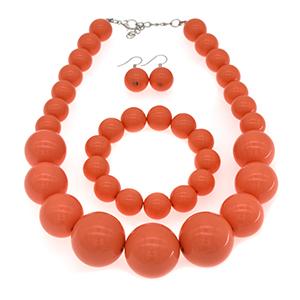 hot orange beaded necklace