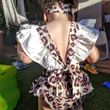 Baby Girls V Back Leopard Jumpsuit Ruffle Romper outfits