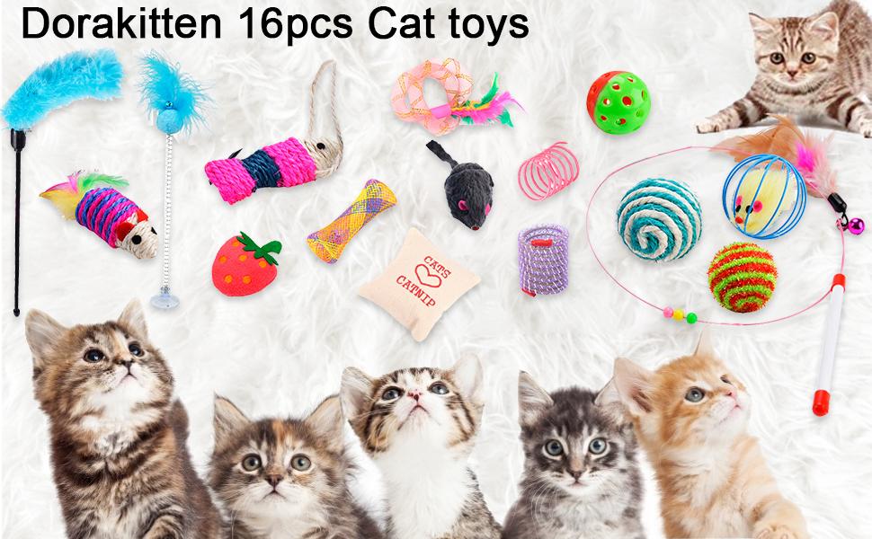 Dorakitten 16Pcs Juguetes para Gatos, Juguete Pluma de Gato Interactivo Pequeño juguete de pelota y ratón 1pc Varita Retráctil y Suministros para Mascotas Gato Jugar Juguete: Amazon.es: Productos para mascotas