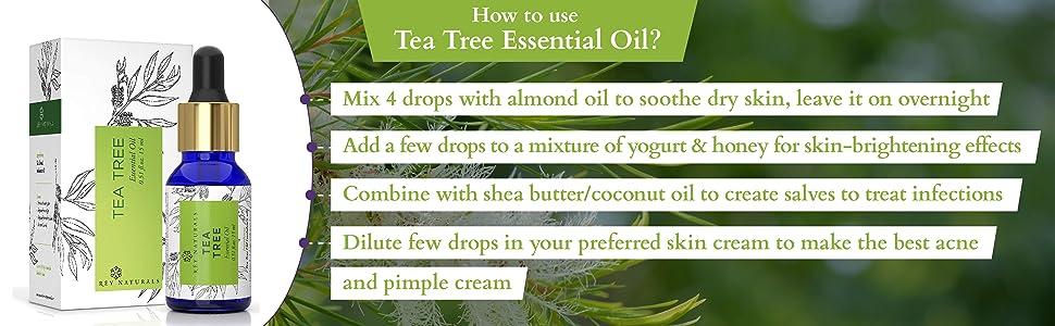 rey naturals tea tree essential oil pure natural clean healthy skin hair