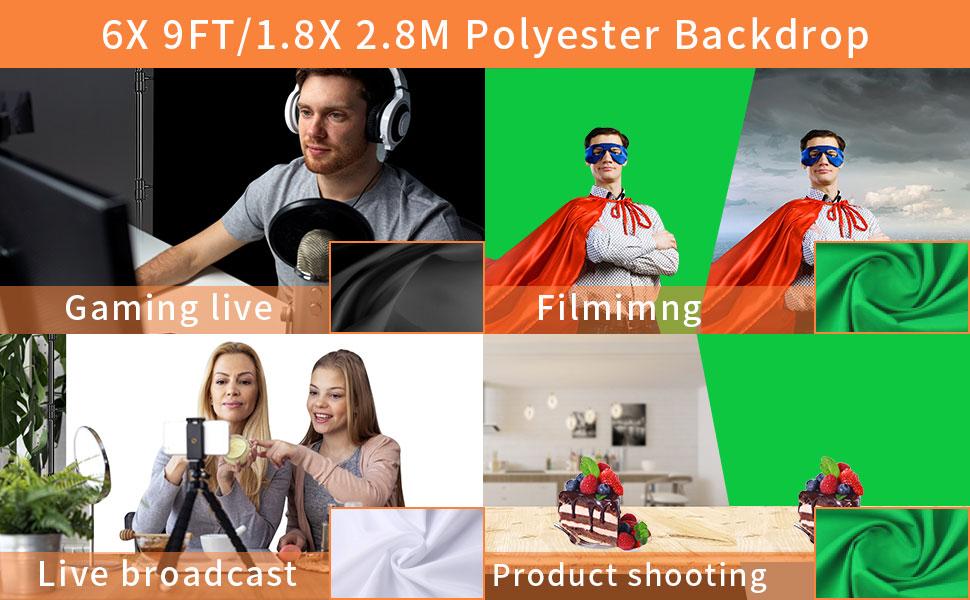 6 X 9ft/1.8 X 2.8M Backdrop(White,Black,Green Screen) for Portrait,Video Shooting
