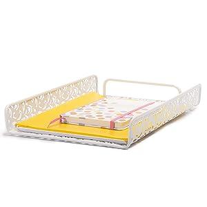 Bandeja de papel lindo color rosa organizador de escritorio Set de suministros de oficina y accesorios para mujeres niñas dormitorio