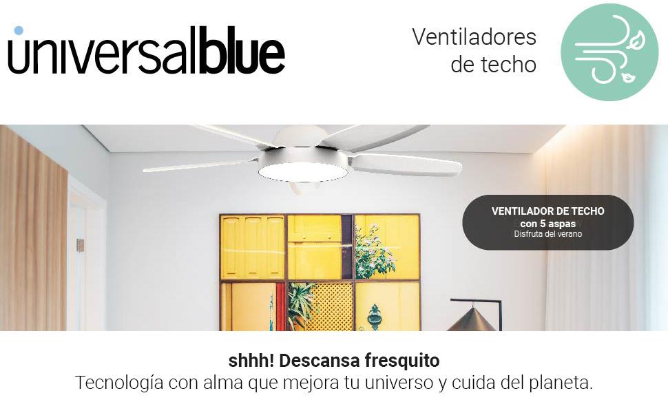 UNIVERSALBLUE - Ventilador de Techo con Luz - Ventilador ...