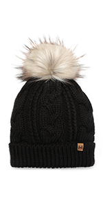 MIRMARU Kids Youth Boys amp; Girls Ages 7-12 Winter Thick Stretchy Cable Knitted Pom Pom Beanie Hat