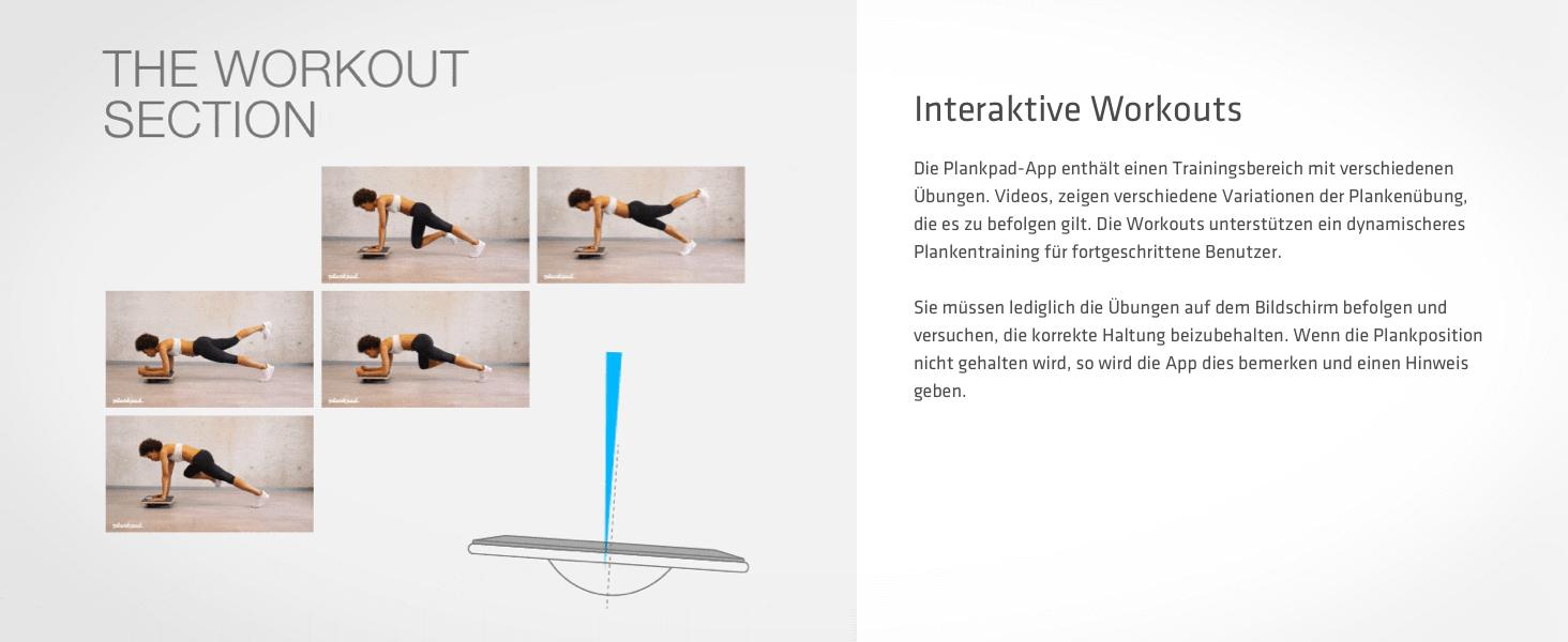 Plankpad-App enthält einen Trainingsbereich mit verschiedenen Übungen. Videos mit Plankvarianten