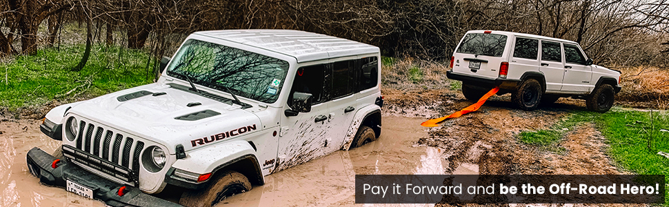 Off-Road Recovery, GearAmerica, straps, Shackles, SnatchBlocks, hitch receivers, Jeep Rescue Gear