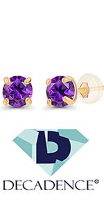 3mm Genuine Birthstone Stud Earrings- 14K Solid Gold