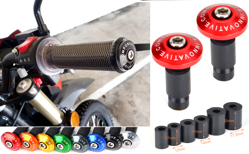1 Pair Motorcycle Street Bike Handlebar Cap Hand Grips Bar Ends Plugs