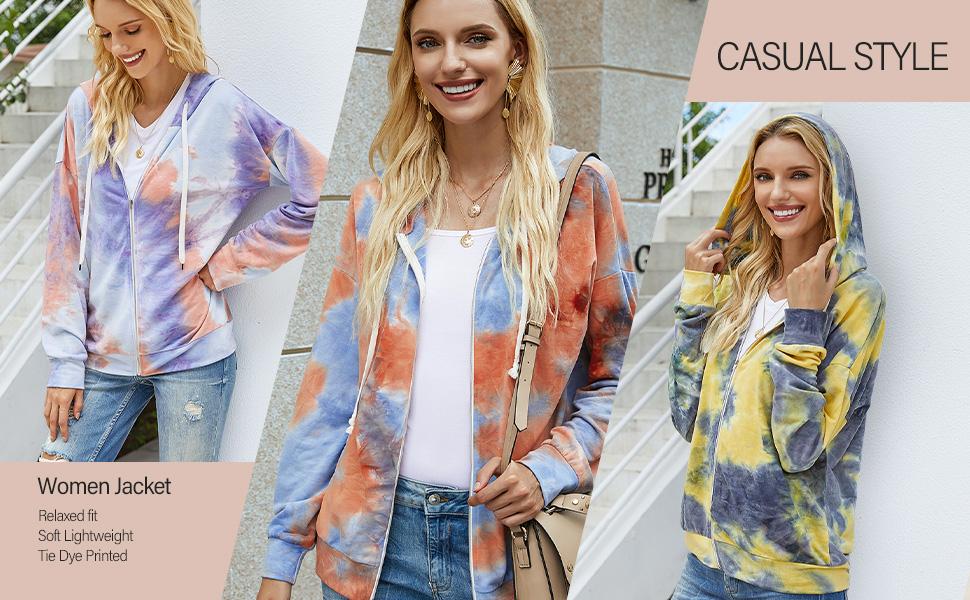 Casual Women Tie Dye Printed Jackets