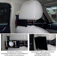 Techzere Car Rear Seat Headrest Mobile Phone Mount & Tablet Holder Mobile Phones and Tablets Upto