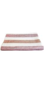 IPPINKA Senshu Japanese Bath Towel, Ultra Soft, Quick-Drying, Two-Tone Stripes, Red