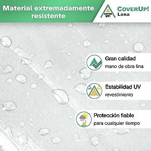 CoverUp Lona Impermeable Blanca 4 x 5 m Madera Lona de protecci/ón con Ojales para Muebles de jard/ín 200 g//m2 Piscina Coche y Camiones + 12 tensores de Lona