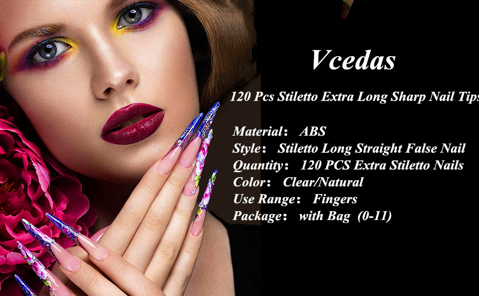 Vcedas 120 Pcs Stiletto Extra Long Sharp False Nail Art Tips Acrylic Fake Nail Tools Kit