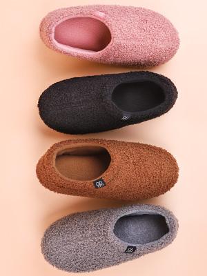 HomeTop Women's Fuzzy Curly Fur Memory Foam Loafer Slippers with Polar Fleece Lining