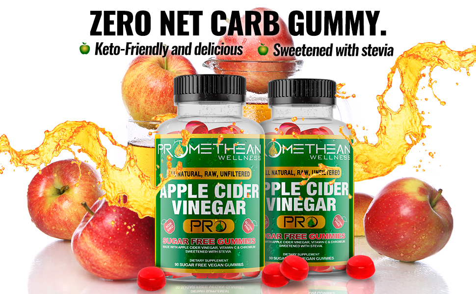 apple cider vinegar gummies, apple cider vinegar with the mother, keto friendly, stevia sweetener
