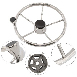 """NovelBee 5 Spoke Dia.11"""" Stainless Steel Boat Steering Wheel with Control Knob and Cap"""