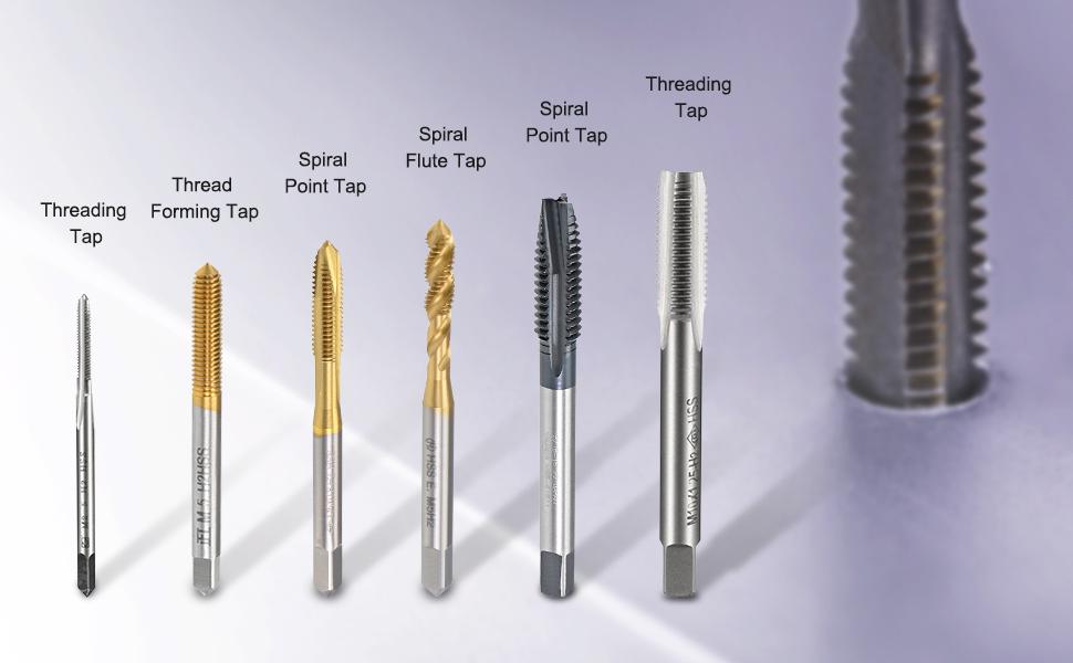 TJ UNC HSS Spiral Point Flute Taps 2 3 4 5 6 8 10 12 1//4 5//16 3//8 7//16 1//2