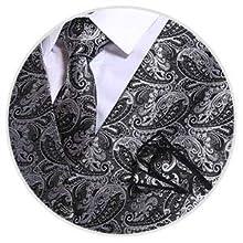 iClosam Chaleco y Corbata y pañuelos para Hombre Chaleco Ajustado de 3 Piezas Conjunto para Traje de Boda de Negocios.