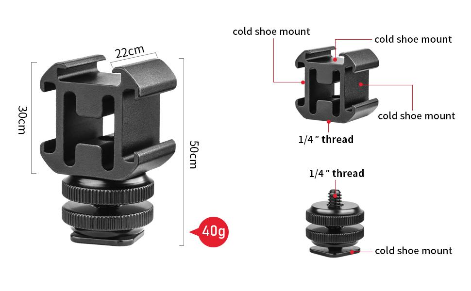 Camera Hot Shoe Mount Adapter Video Accessory Triple Cold Shoe Bracket Lights