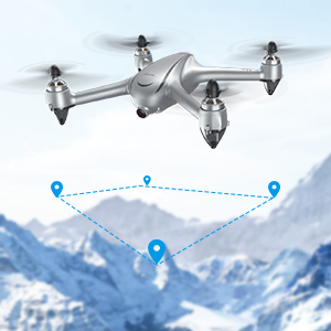 Way-point Flight  Potensic D80 GPS Drone with Camera for Adults, 2K FHD Camera, 2 Batteries 40 Mins Quadcopter with Brushless Motor, Auto Return Home, Follow Me, Long Control Range, Includes A Carrying Case-Sliver a5e5700e 8184 49b7 b8b9 3bbe8fc7e224