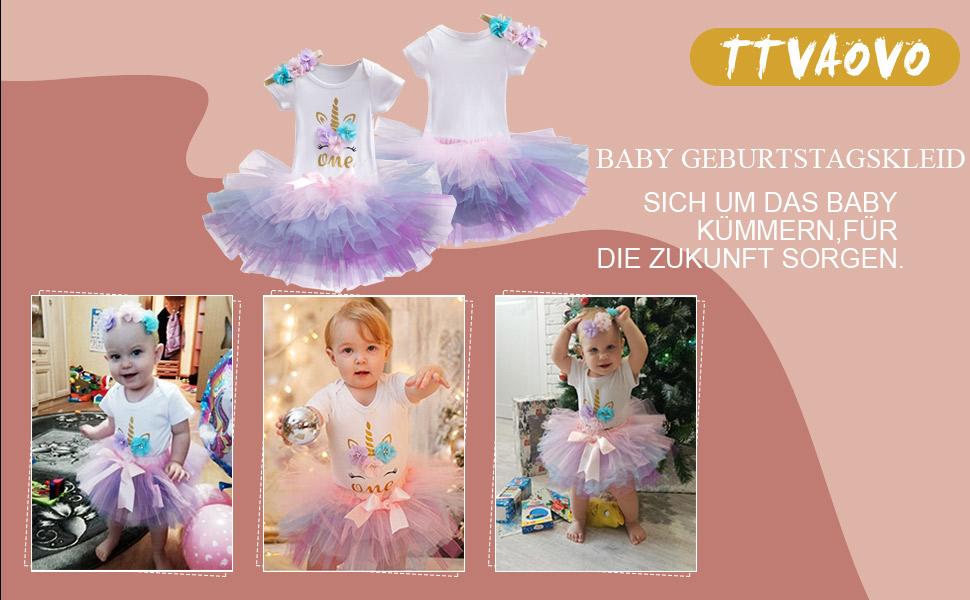 TTYAOVO Baby Girl 1st Birthday 3er Sets mit Einhorn Stirnband /& Strampler /& R/öcke