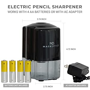 Heavy Duty Auto-Stop MackOffice Electric Pencil Sharpener For Ultra-Portable