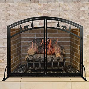 Fireplace Screen Doors Large Flat Guard Wrought with Metal Decorative Mesh/Cover Firewood Safety