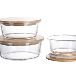 homiu glass container with bamboo lid food storage
