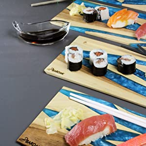 Bardak serving platters blue with sushi on top
