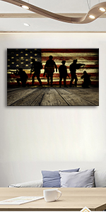 Wooden Flag Wall Art and Soldiers Pictures for Living Room