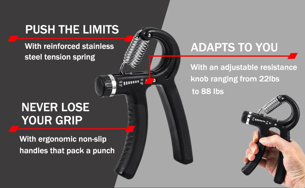 Hand Grip Strength Exerciser, Hand Grip, Grip Strength Trainer, Hand Strengtheners, Forearm Grip