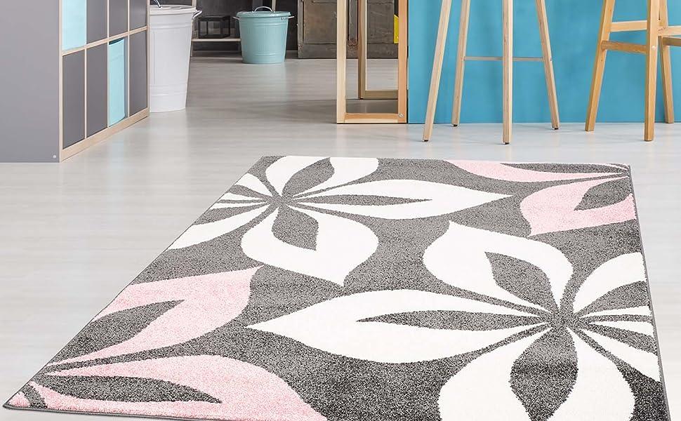 carpet city Teppich mit Blumen Moda Modern Flachflor in