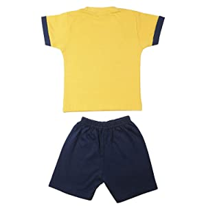 TOONYPORT Cotton Unisex Kidswear Half Sleeve Top Bottom Set
