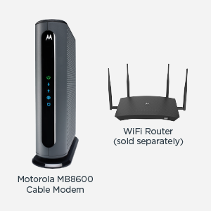 MB8600 cable modem shown with a WiFi router