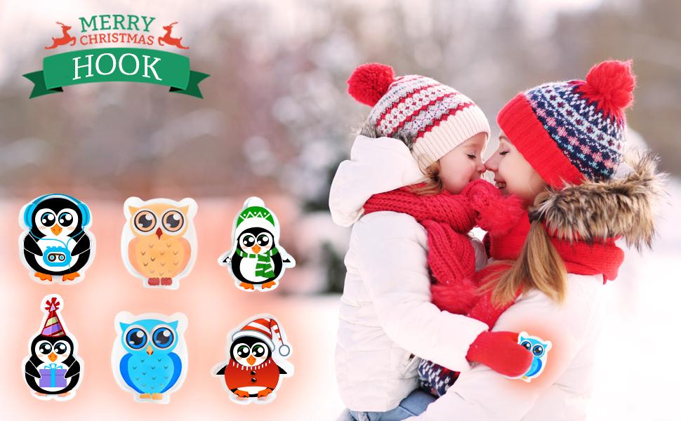 Hook Calentador de manos para ni/ños calentador de manos reutilizable reutilizable juego de 9 unidades de calentadores de bolsillo para Navidad