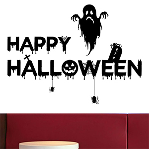 Holly LifePro Party Supplies Happy-Halloween Removable Decal Wall Sticker for Bar Living Room Home