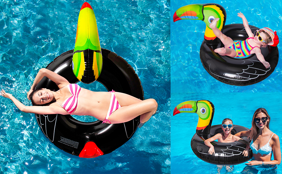 Hawaiian Luau Themed Water Toys Party Supplies for Adults//& Kids Geefuun Tropical Toucan Inflatable Pool Float Ride On Beach Swimming Ring