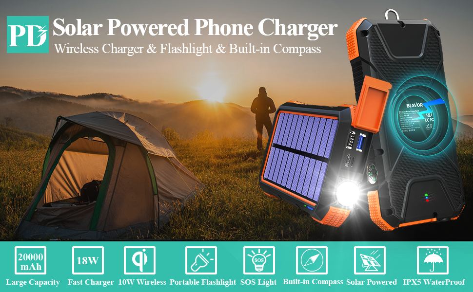 20000mah solar powered phone chargers portable qi wireless charger external battery pack