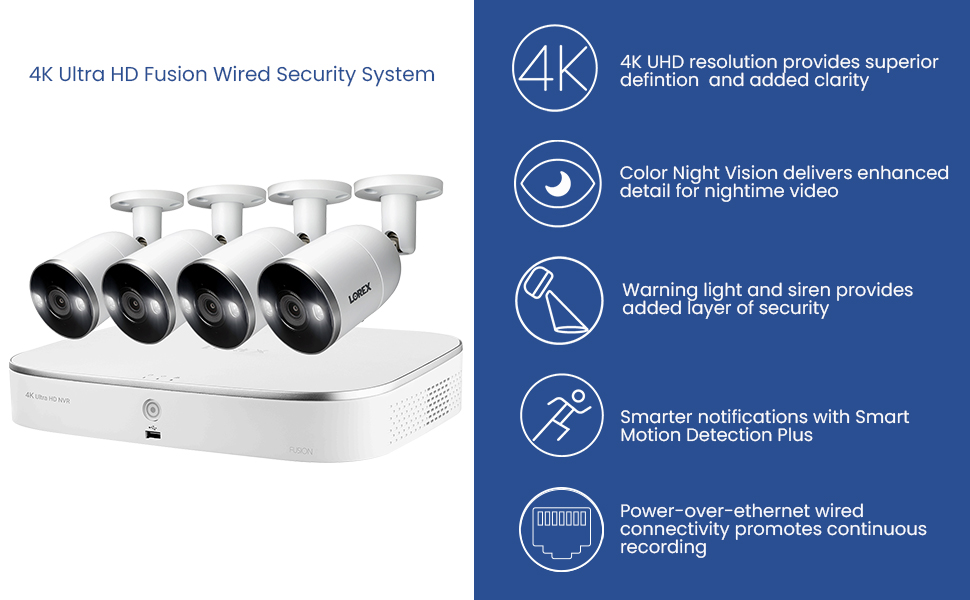 4K Resolution, Color Night Vision, Smart motion detection, warning light and siren