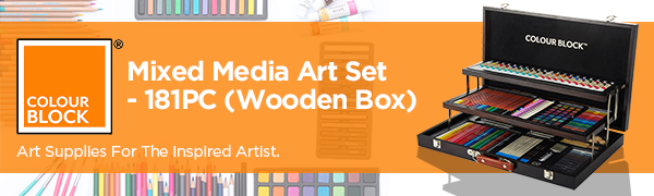 mixed media art set or teens for adult colored pencils drawing pencil watercolor paint soft pastels