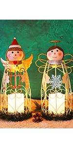 Christmas Angel LED Candle Lantern Lights, 2 Pack