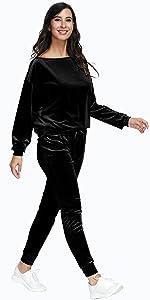 Women Off One Shoulder 2 Piece Casual Jogger Sweatsuit Velvet Tracksuit Sets